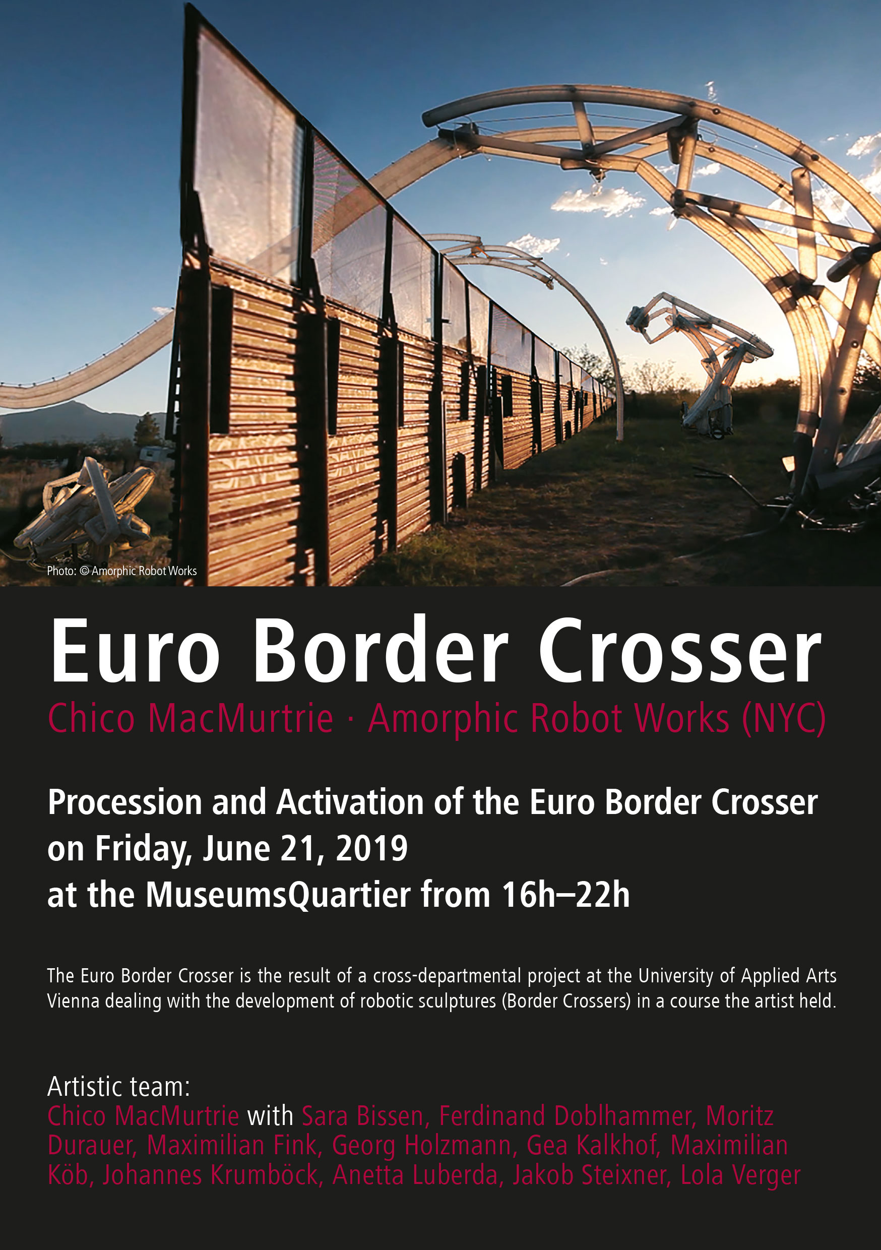 Euro Border Crosser at MQ Wien (21th of June, 16 h) and Angewandte Festival 2019 (27th of June, 17:30)